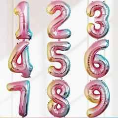 """№53 Фольгированные цифры (0 - 9), наполненные гелием. """"Радужные""""  102 см."""