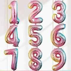 №18 Фольгированные цифры (0 - 9), для наполнения воздухом, с держателем на палочке. Радужные. 41 см.