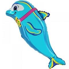 №216 Фигура с гелием. Дельфин с бантом. 94 см*72 см.