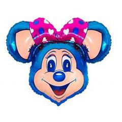 №041 Фигура с гелием. Мышка с большим бантом. Синяя. 96 см*76 см.