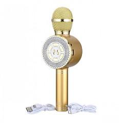 Беспроводной Bluetooth караоке-микрофон WSTER WS-669 с LED подсветкой золотой