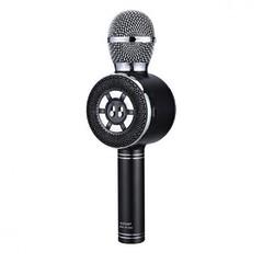 Беспроводной Bluetooth караоке-микрофон WSTER WS-669 с LED подсветкой черный