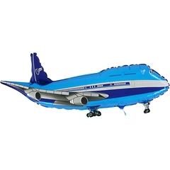 №203 Фигура с гелием. Самолёт синий. 95 см*35 см.