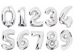 №30 Фольгированные цифры (0 - 9), наполненные гелием. Серебро, 102 см.