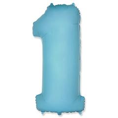 """Фольгированная цифра """"1"""", наполненная гелием. Нежно-голубая, 100 см."""