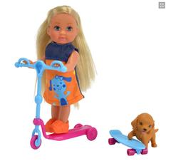 Кукла Эви со скутером и скейтом с собачкой, 12 см Evi Scooter Fun
