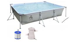 Каркасный бассейн с фильтр-насосом Jilong Rectangular Steel Frame Pool 394х207х80 см