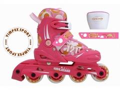 Ролики раздвижные розовые vimpex sport pw-121h для девочек (розовый)