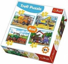 Пазл 4 в 1 Трефл: Большие строительные машины (35,48,54,70 элементов)