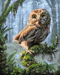 Картина раскраска по номерам на холсте 40х50 Сова GX 8346