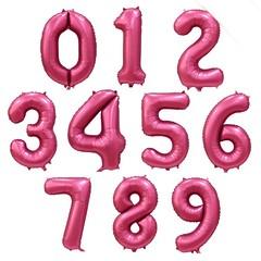 """№38 Фольгированные цифры (0 - 9),  наполненные гелием. """"Бордовый сатин"""" (матовые). 86 см."""