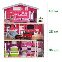 Деревянный дом для кукол с мебелью, куклой и лифтом. Rezydencja Malibu