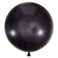 №36 Чёрный большой шар без рисунка (металлик). Гелиевый, с обработкой 91 см.