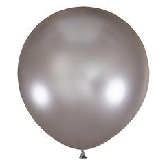 №31 Серебристый большой шар без рисунка (металлик). Гелиевый, с обработкой 91 см.