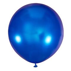 №35 Синий большой шар без рисунка (металлик). Гелиевый, с обработкой 91 см