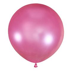 №33 Розовый большой шар без рисунка (металлик). Гелиевый, с обработкой. 91 см