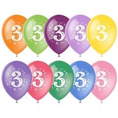"№303  Цифра ""3""  2-сторонний рисунок (шёлк). С гелием. 30 см."