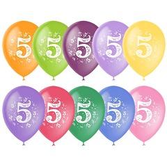 "№305  Цифра ""5""  2-сторонний рисунок (шёлк). С гелием. 30 см."