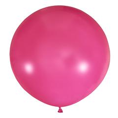 №09 Фуксия(розовый) большой шар без рисунка (шёлк). Гелиевый, с обработкой 91 см.