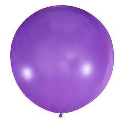 №12 Сиреневый большой шар без рисунка (шёлк). Гелиевый, с обработкой 91 см.