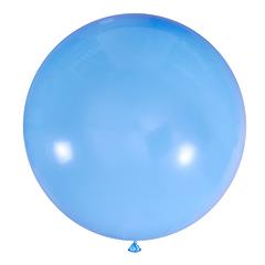 №18 Голубой большой шар без рисунка (шёлк). Гелиевый, с обработкой 91 см