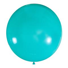 №17 Светло-бирюзовый большой шар без рисунка (шёлк). Гелиевый, с обработкой 91 см