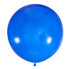 №19 Синий большой шар без рисунка (шёлк). Гелиевый, с обработкой 91 см
