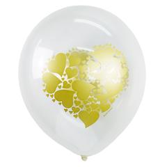 """№248 """"Сердце золото"""" 2-сторонний рисунок (прозрачный). С гелием. 30 см."""