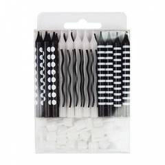 №193 Свечи чёрно - белые, с держателями. 6 см. В упаковке 24 шт.