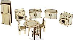 МЕБЕЛЬ ДЛЯ КУХНИ 77 деталей Сборная деревянная модель 80037