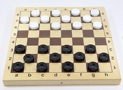 Игра настольная «Шашки» (пластиковые фишки в деревянной упаковке)