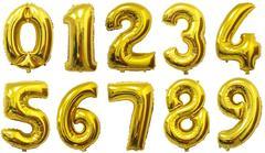 №31 Фольгированные цифры (0 - 9),  наполненные гелием. Золото, 102 см.