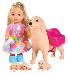 Кукла Еви с собачкой и щенками, 12 см EVI LOVE DOG SITTER