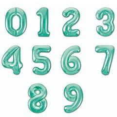 №42 Фольгированные цифры (0 - 9),  наполненные гелием. Нежно зелёные, 102 см.