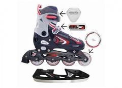 Коньки роликовые разборно-раздвижные со сменным лезвием vimpex sport pw-223a-1 (черно-красные)