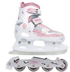 Роликовые коньки трансофрмеры для девочек pw-223-b16 розовые