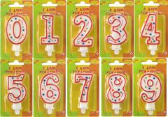 """№104 Свечи - цифры """"Конфетти"""" красные, от """"0"""" до """"9"""""""