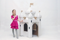Домик из картона Сказочный замок (белый)