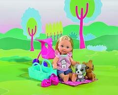 Simba 10 5733080 Куколка Эви с двумя собачками и коляской, 12см