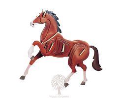 Сборная деревянная модель Лошадь цветная EC023 36 деталей