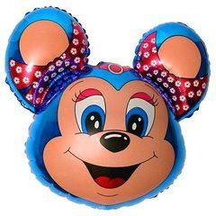 №038 Фигура с гелием. Мышка с бантом и ободком. Синяя. 68 см*76 см.