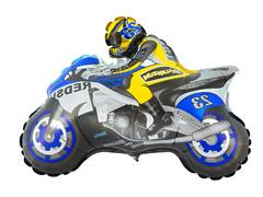 №186 Фигура с гелием. Мотоцикл синий. 80 см*70 см.