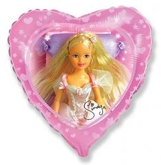 """№065 Фигура с гелием. Фольгированное сердце """"Кукла Sindy"""" 45 см."""