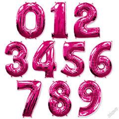№37 Фольгированные цифры (0 - 9 ), наполненные гелием. Малиновые (фуксия). 102 см.