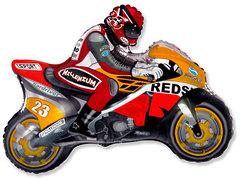 №187 Фигура с гелием. Мотоцикл оранжевый. 80 см*68 см.