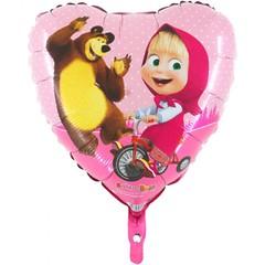"""№061 Фигура с гелием. Фольгированное сердце """"Маша и Медведь"""" 45 см."""