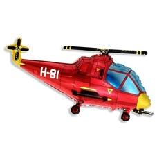 №197 Фигура с гелием. Вертолёт красный. 96 см*57 см.
