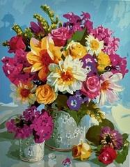 Картина раскраска по номерам на холсте 40х50 Роскошный букет