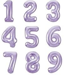 №35 Фольгированные цифры (0 - 9),  наполненные гелием. Нежно - фиолетовые. 102 см.
