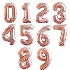 №33 Фольгированные цифры (0 - 9 ), наполненные гелием. Розовое золото. 102 см.